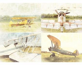 Antique Airplane Collection (4) Aviation Photography, Fine Art Prints Set, Aeronautical Wall Art, Retro / Vintage, Nursery Art, Home Decor