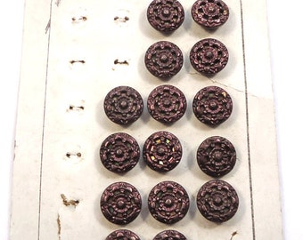 """Part original card of antique small metal buttons - """"twinkle"""" type  (Ref D236)"""