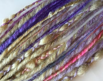 Platinum Blonde Purple Lavender and Pink Dreads Double Single Ended Synthetic Dreadlocks Dread Fall Hair Extensions Set of 24