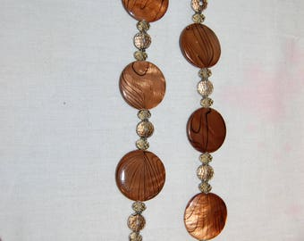 Art Glass & Crystal Necklace Donna Dressler .925 Sterling Adjustable Murano Style Art Glass Discs Copper Tones and Topaz Color Beads