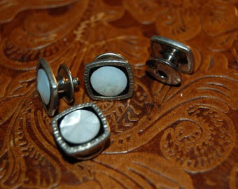 1920's SNAP LINK Silver Black & With Mother of Pearl  Vintage 1920's Art Deco Snap Link Cuff Links Cuff Links