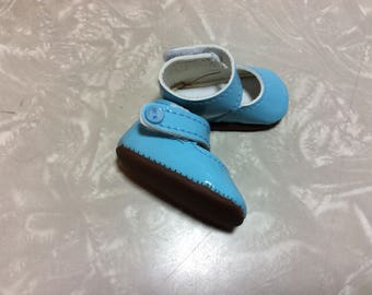 Blue Mary Janes, doll shoes, 14 inch doll clothes, fit Wellie Wisher