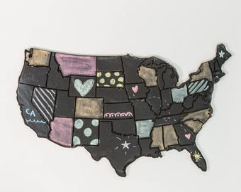 Engraved United States of America Wooden Wall Art, Distressed Chalkboard, Modern Rustic