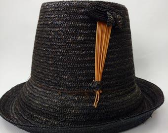 Vintage Black Straw Hat Tall High