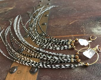 Natural Grizzly Feather Earrings, Gold Hoop Earrings With Nugget Quartz Crystals Leverback Earrings, Feather Hoops, Crystal Hoops