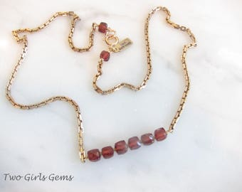 Garnet Bar Necklace, Two Girls Gems, Garnet necklace, antique gold chain
