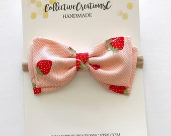 """Pink Strawberry Bow - Strawberry Print Baby Bow - Tuxedo Bow - 4"""" Bows - Fabric Bow Clip - Baby Clip Bow - Nylon Headbands - Strawberry Bow"""