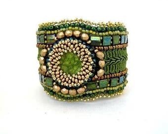 Bracelet for women Beaded jewelry Olive green bracelet, Bead embroidered bracelet, Beaded cuff bracelet, Seed bead bracelet