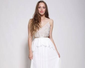 Bohemian lace top wedding dress , nude color lining ,open back wedding dress
