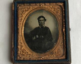 Old Antique Tin Type Photo In Half Case