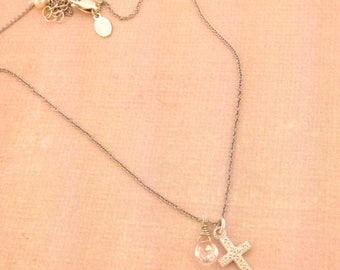 Little girls sterling silver detailed cross accented with a genuine birthstone/ flower girl/ bridesmaids/bride