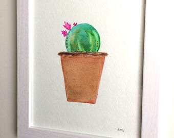 Framed, Original Potted Cactus Watercolor