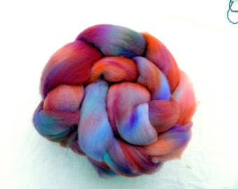 Hand dyed Organic Polwarth combed top, 4 ounces