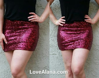 S/M Only - Wine Sequin Mini Skirt - Short skirt, full sequins (S, M, L, XL) Super beautiful in person bright and glam