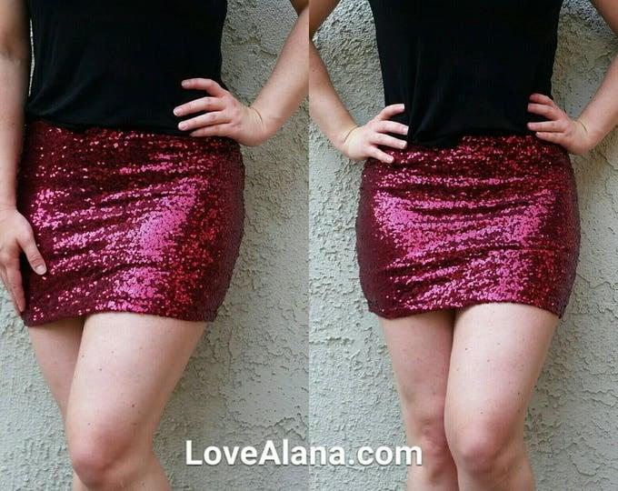 SALE til 11/8 Wine Sequin Mini Skirt - Short skirt, full. Super beautiful in person bright and glam. Ships asap!