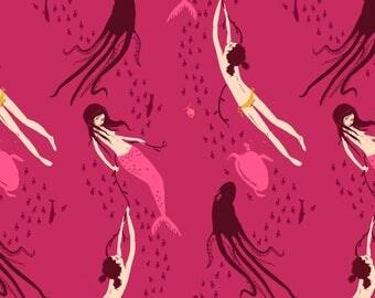 1 Yard MENDOCINO MERMAIDS 40943-19 Fuschia Berry Pink Heather Ross Peach Turtle Ocean Sea Octopus Windham Quilting Sewing Fabric