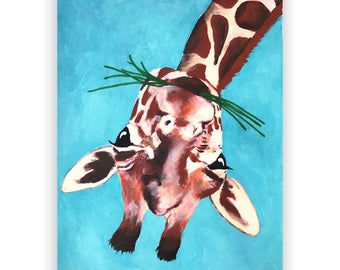 Merry Everything,Happy Always,Joy Peace and Love, Original Giraffe Painting,handpainted on high quality 200g Art paper, Giraffe upside down