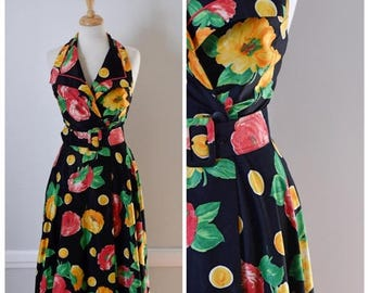 ON SALE 90s Floral Fit and Flare Halter Dress