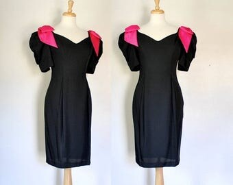 ON SALE 80s Glam Black Party Dress