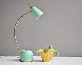 Vintage Turquoise and Brass Goose Neck Desk Lamp - Task Lamp