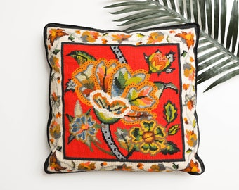 Vintage Colorful Floral Needlepoint Pillow - Decorative Needlepoint Pillow