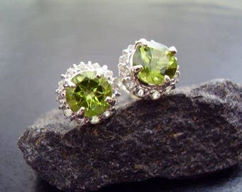 Genuine Peridot 6mm Faceted Round Cut & White Topaz Halo Stud Solid 925 Sterling Silver Earrings August Birthstone Anniversary Gifts For Her