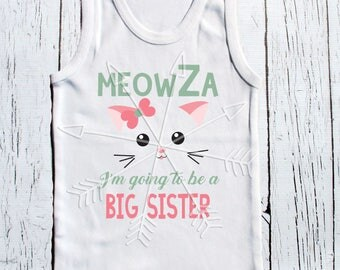 "Big Sister to be hipster ""MeowZa I'm going to be a big sister"" pregnancy announcement t-shirt"