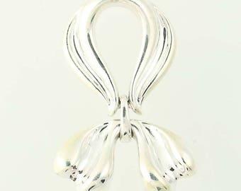 Draped Bow Slide Pendant - Sterling Silver 925 Women's G1290