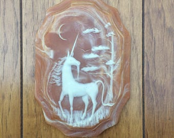 Vintage Wall Hanging Unicorn Art Home Decor Magical Whimsical Boho Hippie Gypsy Bohemian Marbled Plaque Mystic Mid Century Bohemian 70s 80s