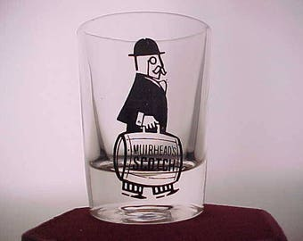 Vintage Muirheads Scotch Advertising Shot Glass, Glass Barware Shooter