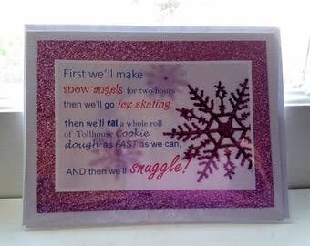 First we'll make snow angels Buddy the Elf quote Handmade Greeting Card