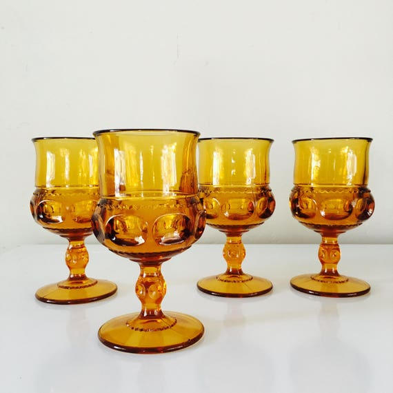 Set of (4) Orange Amber Goblets Vintage Glasses Thumbprint Pattern Glassware Orange Glass Drinkware