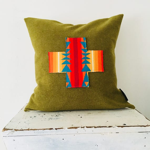 "Moss Green Wool Pillow Cover 18""x18"" Square Cushion Wool Plus Sign Vintage Military Green Wool Oregon Wool Turquoise Orange Swiss Cross"
