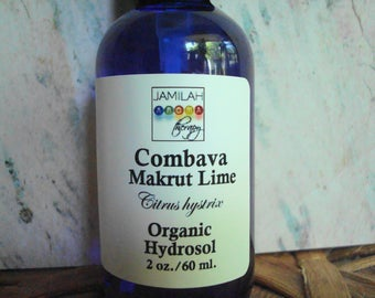 Organic Combava Petitgrain Hydrosol, Stimulating, Calming, Combava Lime, Lime, Makrut Lime, Acne, Circulation, Hydrolat, Stress,