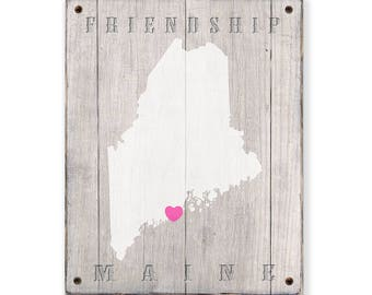 State of MAINE - Rustic print sign - Customized for your town or city in Maine - Rustic weathered wood sign