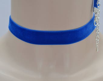 "ROYAL BLUE Classic Plain Velvet 16mm 5/8"" Ribbon Choker Necklace   -iz... custom made to order, more blue shades available"