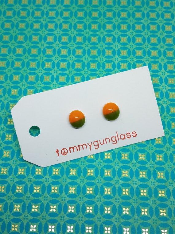 Olive and Orange Glass Stud Earrings