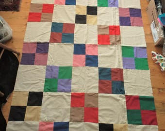 Vintage 1980s, Polka Dot, Quilt top with LOTS of extra squares. Make 2 quilts if you please !