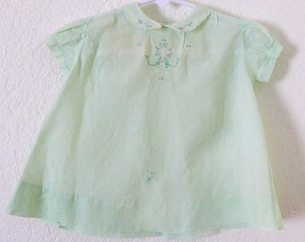 Vintage 50s Baby Dress in Mint Green Cotton Hand Embroidered with Matching Bib