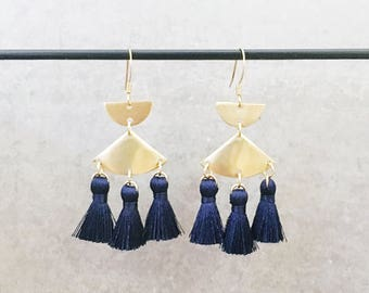 Tassel earrings teal mini tassel earrings - Teal tassel - Nickel free gold hooks + brass mini tassel earrings - Teal accessories