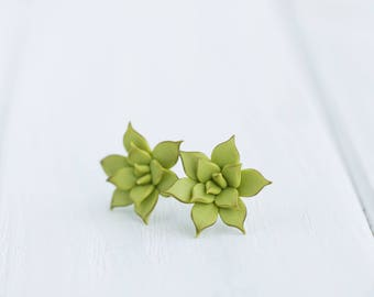 Green Succulent Stud Earrings Small Hypoallergenic Studs Weddings Bridal Bridesmaid Birthday Women Accessory Birthday Wedding Bridal Gifts