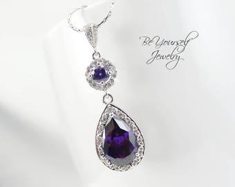 Purple Bridal Necklace Amethyst Teardrop Bride Necklace Cubic Zirconia Wedding Jewelry Plum Pendant Bridesmaid Necklace February Birthstone