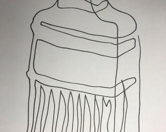 Paintbrush-minimal line art|minimal art|minimal line drawing|contour drawing|contour line drawing|pinterest|housewarming