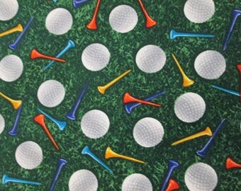 Realistic Golf Balls Tees Green Cotton Fabric Fat Quarter Or Custom Listing
