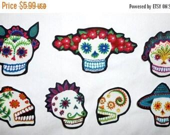 ON SALE 50% OFF Sugar Skull Diy  Iron On Fabric  Appliques Set of 7 No Sew