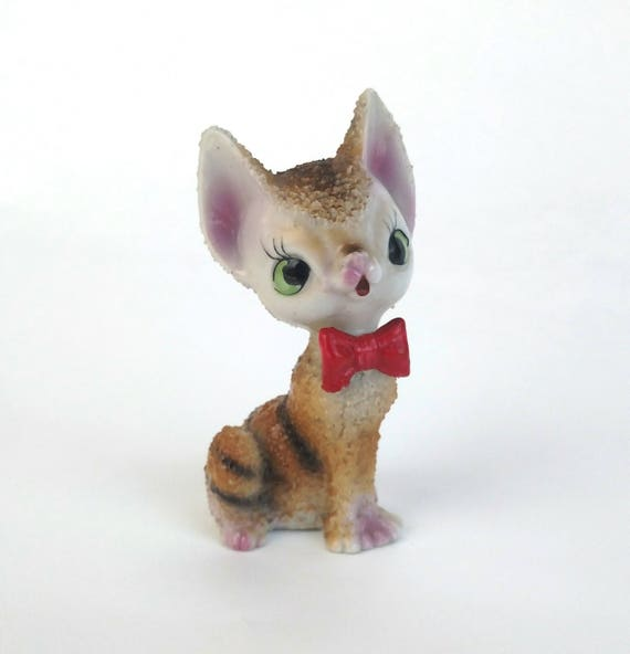 Vintage Porcelain Figurine of Striped Cat in Red Bow Tie made in Japan by Arnart