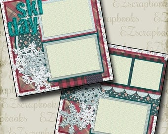 SKI DAY - 2 Premade Scrapbook Pages - EZ Layout 992