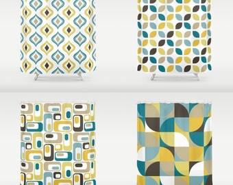 Retro Print Shower Curtain Bathroom Ds 70 X Or 84 White Mustard Yellow