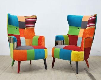 2 x King Armchairs - rainbow