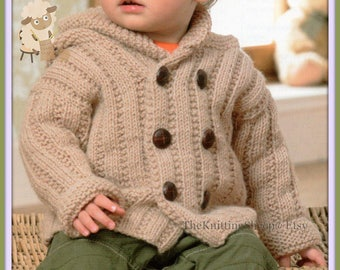 "PDF Knitting Pattern - Babies/Child's Aran Hooded Jacket,Collared Cardigan & Lacy Cardigan to Fit  16""-24"" Chests - Instant Download"